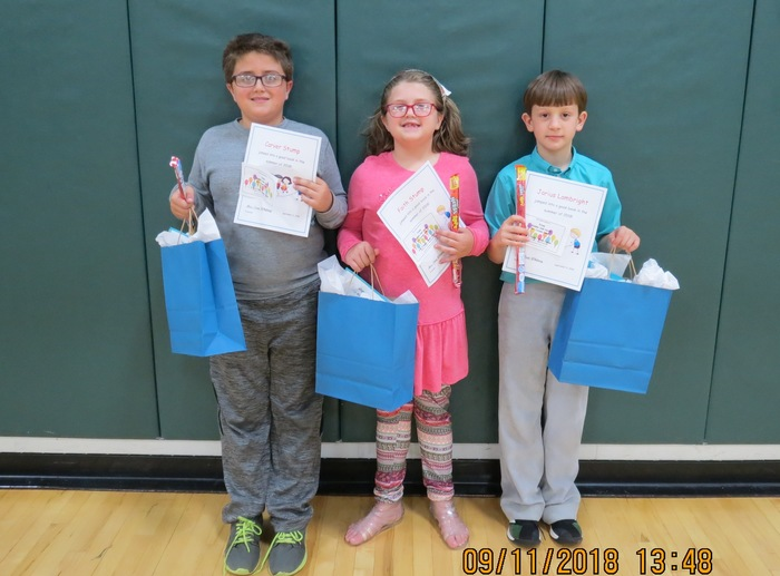 Winners for highest amount of minutes for the summer reading program.