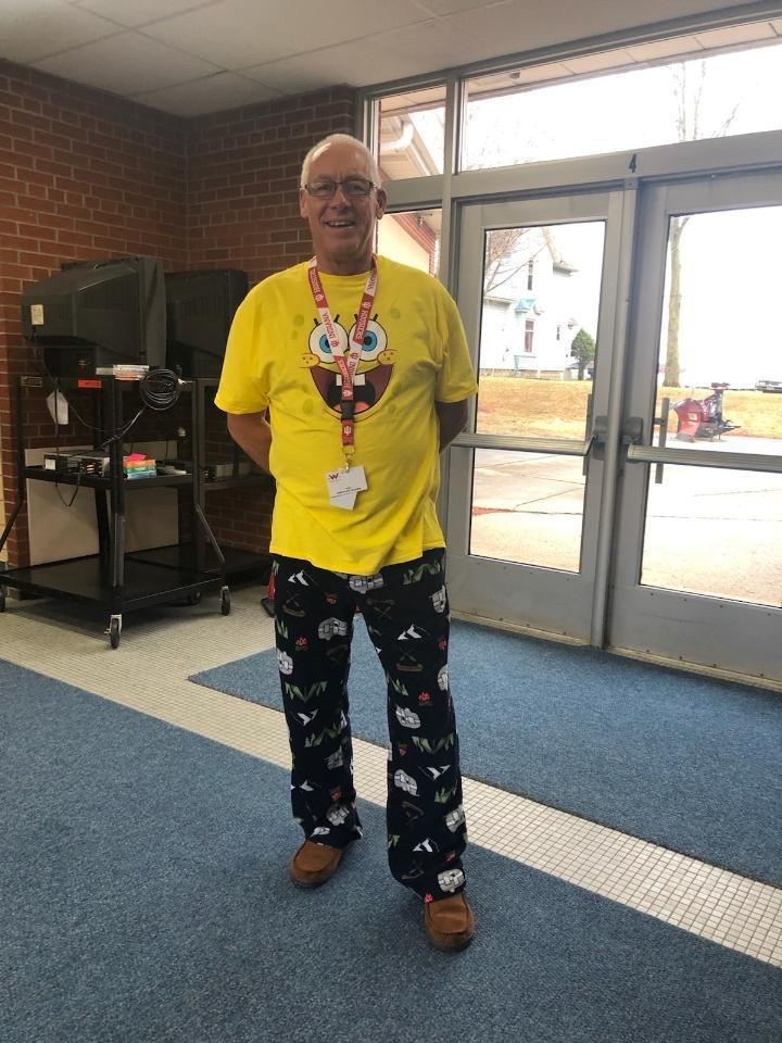 Mr. Leeper joined in on pajama day.